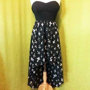 Strapless Gothic Cross Hi Low Bustier Maxi Dress M